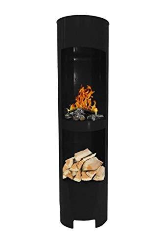 Ethanolkamin Gelkamin Höhe:180cm / Breite:37cm / Tiefe:35cm / Säule Kamin Schwarz mit Holzfach Inklusive: 3 x Brennstoff-Behälter