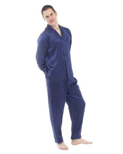 Pyjamas en soie classique et robe de chambre set, Bleu - Bleu, L / 42