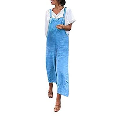 Aniywn Women's Baggy Plus Size Cotton Linen Jumpsuits Overalls Wide Leg Loose Pants Casual Rompers