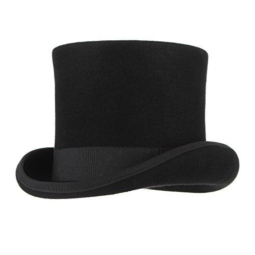 GEMVIE Men 100% Wool Mad Hatter Satin Lined Black Low Top Hats