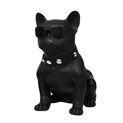 Creative French Bulldog Speaker Wireless Deep Bass Speakers Support TF Card Stereo System/FM Radio for Phone Laptop Tablet TV,Black