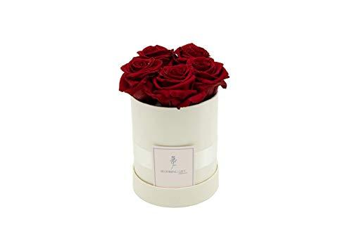 Blooming Gift - Infinity Flowerbox - Rosen-Box - Blumenbox - Ewige Blume - Geschenk - 3 Jahre haltbar - Creme-Weiß/Rot - Große Small: H14 x Ø12cm