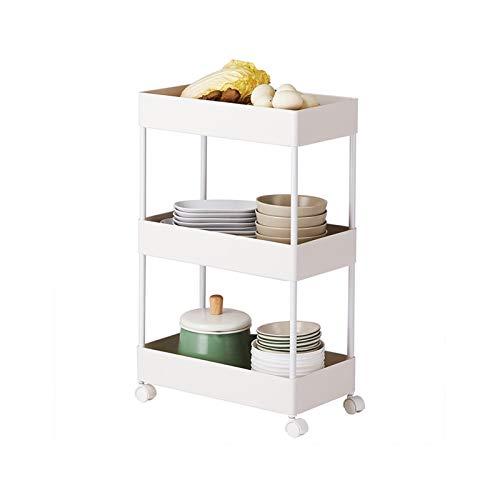GZLL Carrito de la Cocina de la Cocina, estantería de plástico para pequeños móviles, baño de 3 Niveles de Almacenamiento Delgado,