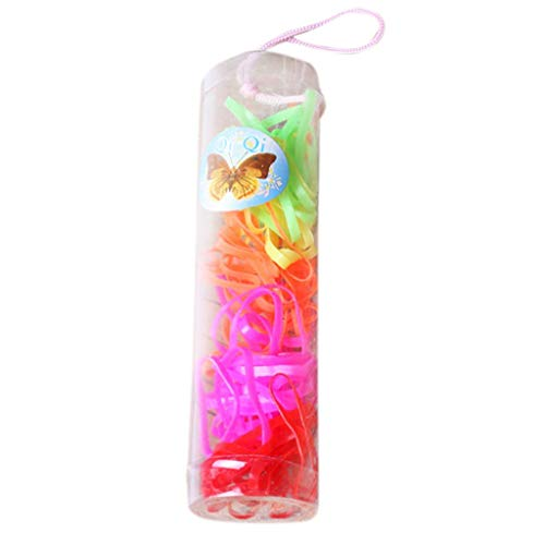 niumanery 8 Styles Children Baby Girls Disposable Elastic Rubber Band Fluorescence Sweet Candy Color Hair Ropes Mini Ponytail Holder Tie Gums with Box C
