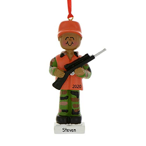 Personalized African-American Hunter Christmas Tree Ornament 2020 - Huntsman Gone Hunt Tradition Trapper Hobby Stalker Woodsman Game Shooting Sport Profession Orange Vest Country - Free Customization