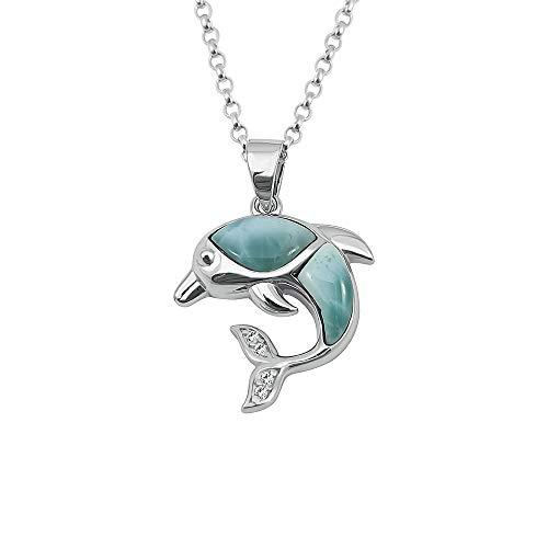 Kiara Jewellery Collar de plata de ley 925 con colgante de delfín con circonita cúbica incrustada con larimar natural en cadena de plata de ley de 45,7 cm o cadena Belcher. Chapado en rodio.