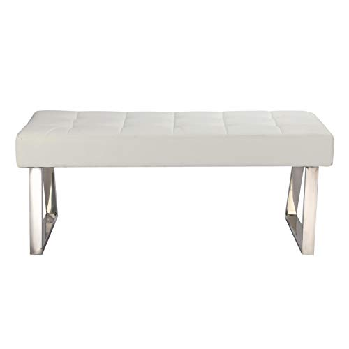 Queiting Dining Bench Soft Long PU Leather Lounge Stool Base Dining Bench Seat for Living Room Bedroom Furniture(White)