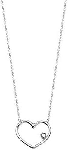 14  WeißGold Draht Herz mit 0,01 T Diamant Verstellbare Halskette 46cm
