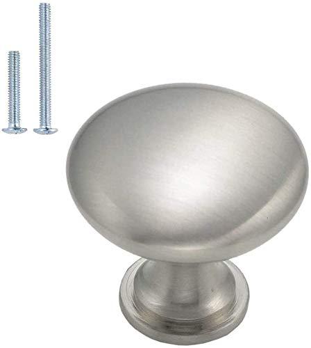 10 pomelli per mobili color argento – LS6050SNB per mobili in acciaio inox e metallo massiccio per armadi, cassetti, comodini, diametro 28 mm