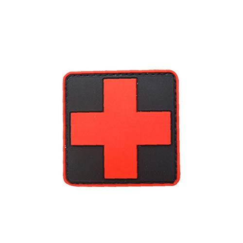 Medic Rote Kreuz Armband Tactical PVC 3D Kreuz-Patch Rubber Rotes Kreuz Armbinde Abzeichen Schwarz Rot 1pc