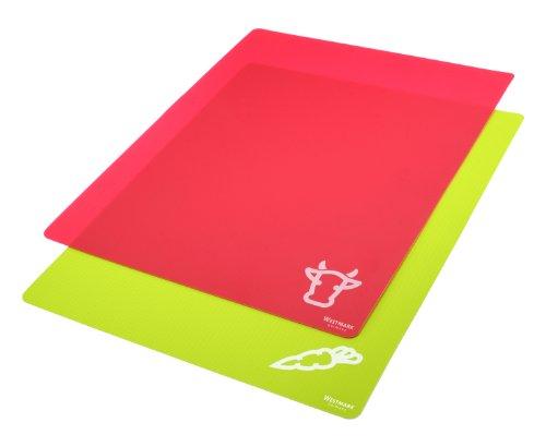 Westmark 2 Flexible Schneidmatten, Für Gemüse und Fleisch, 38 x 30,5 x 0,1 cm, Kunststoff, Grün/Rot, 11772250
