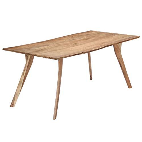 vidaXL Legno Massello di Acacia Tavolo da Pranzo Robusto Stabile Stile Industriale Rustico Naturale Arredo Cucina Sala 180x88x76 cm