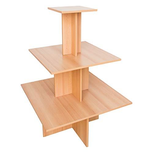 Dila GmbH 10er Set Pyramidentisch New York | Super Sparangebot | Verkaufstisch aus Holz Verkaufsregal 3 Ebenen Gesamthöhe 135 cm (Buche)