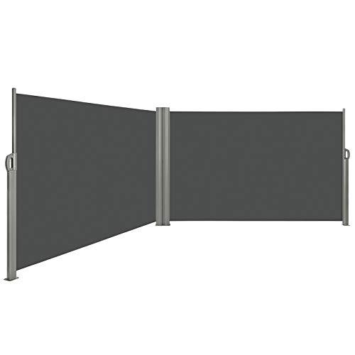 LARMNEE Doppelseitenmarkise ausziehbare, Rahmen aus Vollaluminium, 180 x 600 cm, Sichtschutz, UV-beständig, Seitenmarkise, Seitenrollo, Seitendächer, Standmarkise, Dunkelgrau EGY186BP02