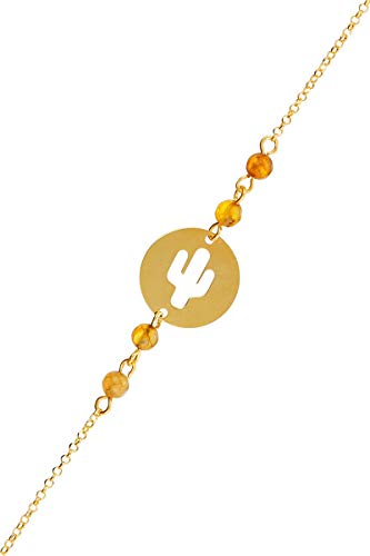 Córdoba Jewels |Pulsera en Plata de Ley 925 bañada en Oro con Swarovski con diseño Chapa Cactus Swarovski Ambar Gold
