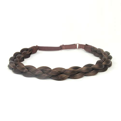 DIGUAN Chubby Narrow Synthetic Hair Braided Headband Classic Chunky Plaited Braids Elastic Stretch Hairpiece Women Girl Beauty accessory Mia, 58g (Copper Brown)