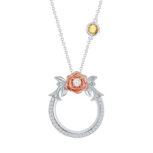 Enchanted Disney Belle's Rose Diamond and Citrine Circle Pendant 1/5ctw