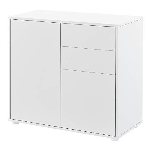 [en.casa] Cómoda Armario 74 x 79 x 36 cm con 2 Cajones y 2 Puertas Organizador de Oficina Sideboard Cajonera Multiusos Mueble Auxiliar Sin Mango Blanco Mate
