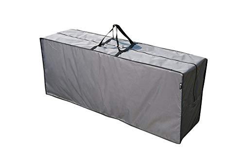 SORARA Sac de Rangement Hydrofuge pour Coussins Salon de Jardin | Gris | 125 x 32 x 50 cm