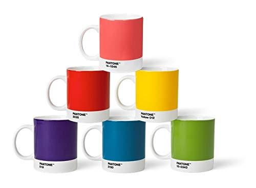 Pantone 6 Kaffeetassen mit Henkel Porzellan Becher 6er Set, klassische Farben, 375ml