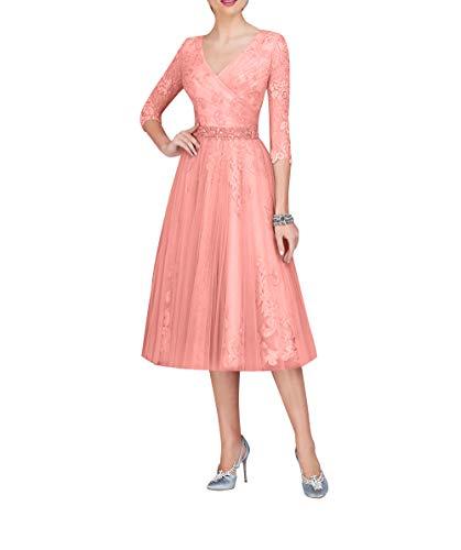Royaldress Damen v-Ausschnitt Spitzenkleider Promkleider Festkleider silberhochzeit Kleider Kleider Fuer hochzeitsgaeste wadenlang-40 Hell Orange