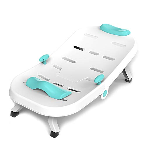 Silla de champú para niños pequeños para niños - Bañera para bebé con Asiento Integrado y reposacabezas Suave - Soporte para baños, Blue