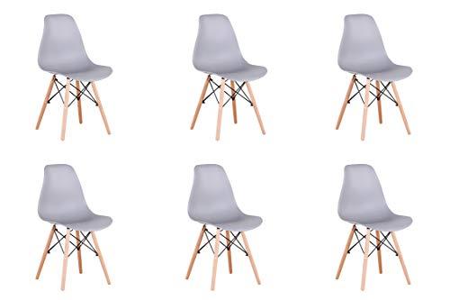 Conjunto de 4/6 sillas de plástico con patas de madera de diseño elegante y minimalista, aptas para comedor, dormitorio u oficina, de 82 x 46 x 53,5 cm