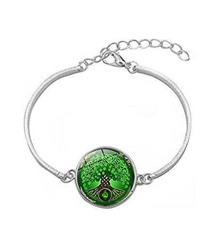 Pulsera de árbol de la vida celta verde, joyería de cristal de cúpula, regalo para ella
