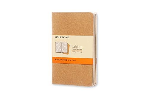 Moleskine Cahier Journal, Set 3 Quaderni con Pagina a Righe, Copertina in Cartoncino e Cucitura a Vista, Colore Marrone Avana, Dimensione Pocket 9 x 14 cm, 64 Pagine