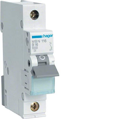 Hager MBN116 Automatische Sicherungsleitung Leistungsschalter, B16 A, 415V, 1NA