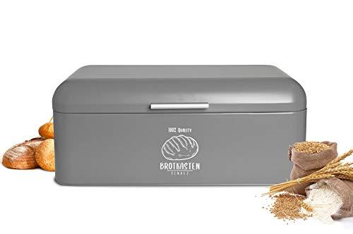 Sendez Großer Brotkasten aus Metall mit Klappdeckel 42x22,5x17cm im Retro Look Rollbrotkasten Brotbehälter Brotbox Grau
