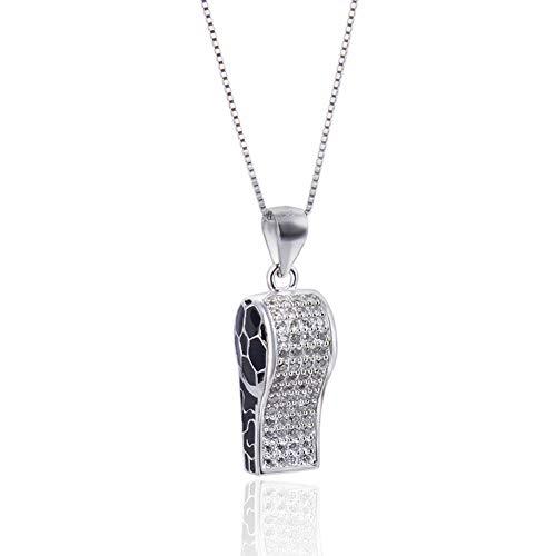 Collana da donna in argento s925 fischietto ciondolo a forma di ciondolo da calcio ciondolo a catena corta