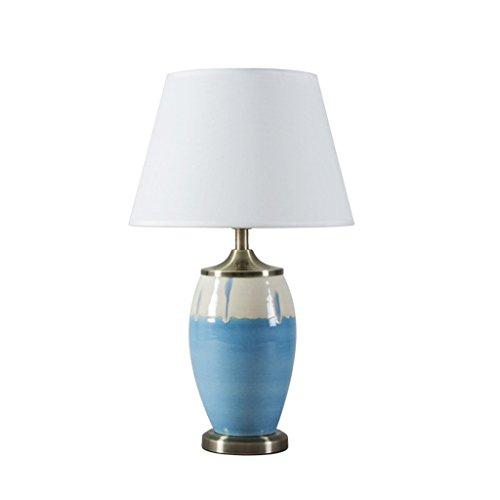 CKH Keramische bureaulamp in twee kleuren, gesplitst in Scandinavisch minimalistische woonkamer slaapkamer studie tafellamp doek lampenkap
