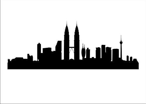 City Panorama - Plantilla reutilizable (A3, A4, A5, más grande, estilo moderno/P17), Plantilla reutilizable de PVC, A4 size - 210 x 297 mm, 8.3 x 11.7 in