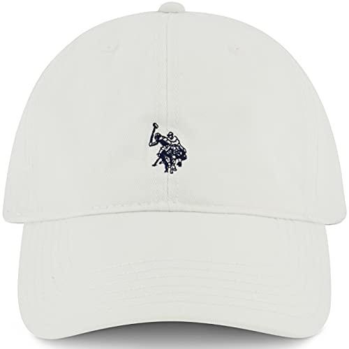 U.S Polo Assn. Men's Pony Logo Baseball Hat, 100% Cotton, Adjustable Cap, Platinum, One Size
