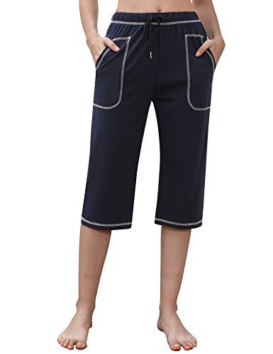 Irevial Pantalon Chandal Mujer Algodón Verano Pantalones Deportivos Mujer Largos 3/4 con Cordón y Bolsillos Pantalon Verano Mujer para Yoga Fitness Entrenamiento Correr