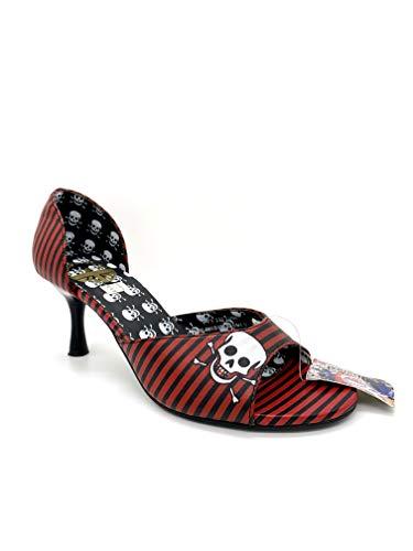 Underground England Damen Schuhe Riemchen Pumps Peep Toe - Rockabilly Stil (37 EU, Schwarz)