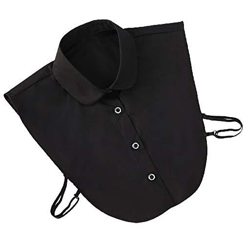 Camisa de cuello falso, desmontable y agradable al tacto, diseño novedoso, cuello de solapa, blusa para decoración diaria, trabajo, escuela, ocasiones formales, color negro 1