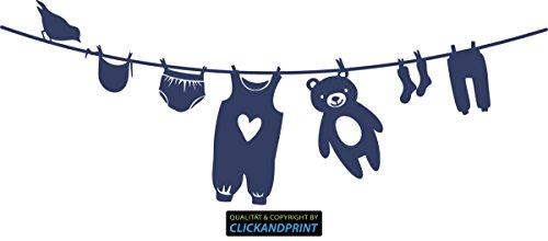 CLICKANDPRINT Aufkleber » Wäscheleine Baby, 280x105,0cm, Dunkelblau • Wandtattoo / Wandaufkleber / Wandsticker / Wanddeko / Vinyl
