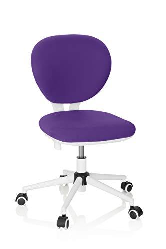 hjh OFFICE 670972 Kinder- und Jungenddrehstuhl Kid VIVO Stoff Lila/Weiß Kinderbürostuhl mit höhenverstellbarer Rückenlehne