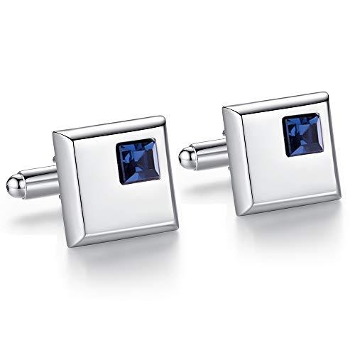 Honey Bear gemelli camicia uomo argento quadrato con cristallo ,acciaio per regalo di nozze d'affari (blu scuro)