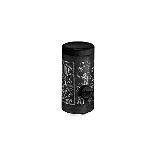 Meliconi Dosacaffé in lamiera litografata con coperchio nero Decoro Bistrot, conserva aroma caffè, adatto a tutte le Moka. Made in Italy