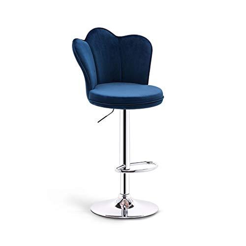 CHY Metálica Taburetes De La Barra Ajustable, Giratorio Taburetes Conjunto De 4, For Sillas Cocina Computadora De Oficina del Contador (Color : Blue, Size : Bar stools Set of 4)