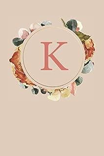 K: Peach Monogram Sketchbook | 110 Sketchbook Pages (6 x 9) | Floral Watercolor Monogram Sketch Notebook | Personalized Initial Letter Journal | Monogramed Sketchbook