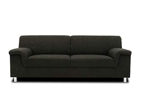 DOMO. collection Jamie Sofa 2er Couch, Garnitur 2 Sitzer, schwarz, 190 x 80 x 72 cm