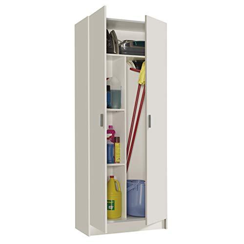 Habitdesign Armario Multiusos, Escobero, 2 Puertas, Acabado en Color Blanco Mate, Medidas: 73 cm (Ancho) x180 cm (Alto) x 37 cm (Fondo)