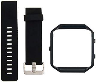 إطار معدني أسود + سوار ساعة رياضي من السيليكون ناعم لساعة فيتبيت بليز الذكية