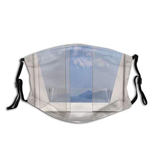 FULIYA Gezichtsmaskers Wasbaar Herbruikbaar voor Vrouwen Mannen, Lounge Futuristisch Minimalistisch Ontwerp Met Bay Shore Ocean Sea View Foto, 5.9x7.9Inch Medium Unisex Adult