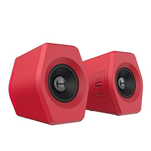 LIQIANG Computer Speakers RGB Gaming Speakers PC 2.0 USB Powered Stereo Volume Control, Dual-Channel Multimedia Speakers with LED Lights, for PC Desktop Laptops Tablet Smart Phones, Red