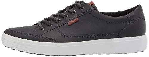 ECCO Men's Soft 7 Long Lace Sneaker, Magnet Oil Nubuck, 9-9.5